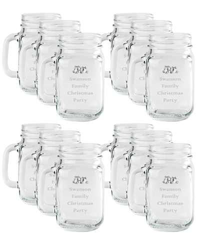 12 Piece Set - Engraved Mason Jars with Handle