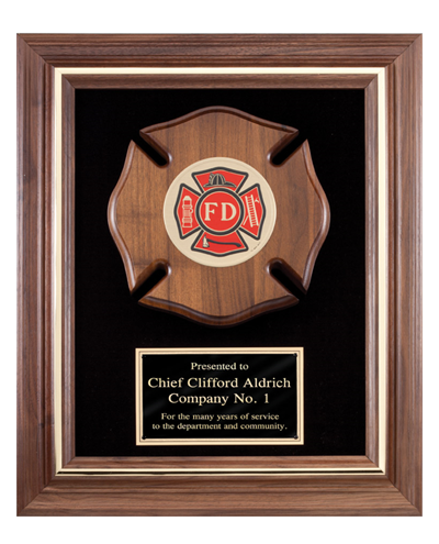 Fireman Plaque with Maltese Cross