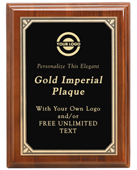 Walnut Imperial Gold Border Plaque