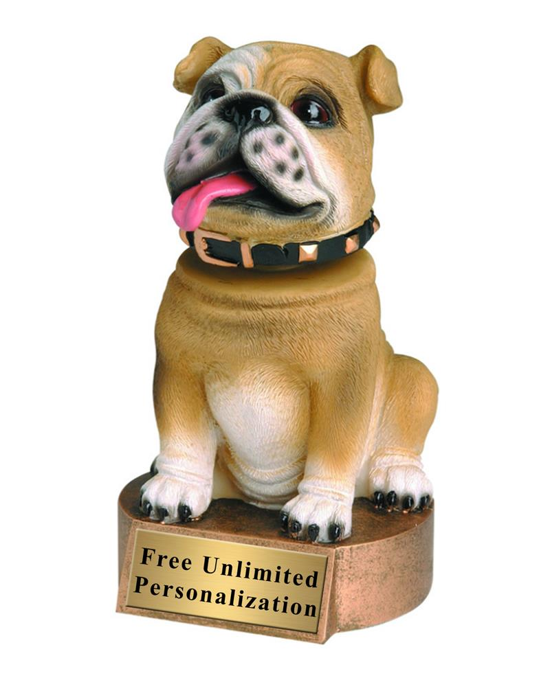Brown Bulldog Bobblehead Mascot Trophy