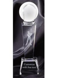 Sports Crystal Baseball Trophy