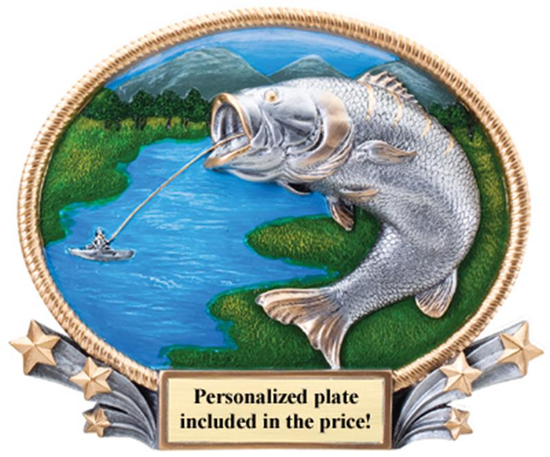 3D Oval Plate Fishing Trophy