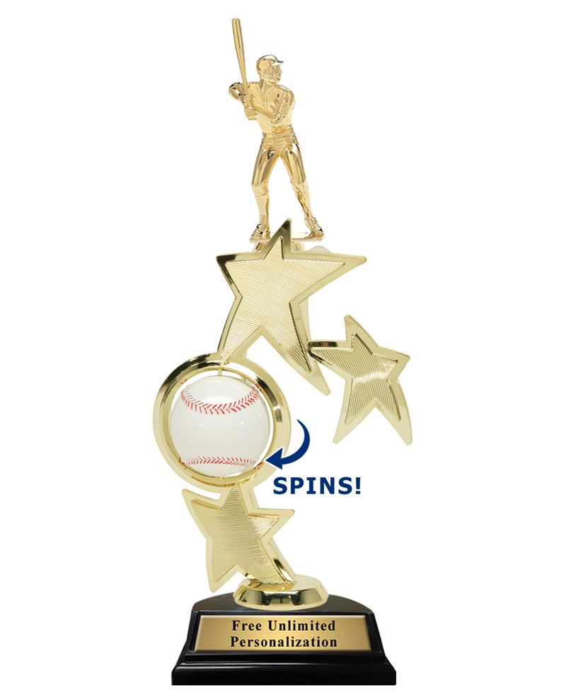 Triple Star Spin Action Baseball Trophy