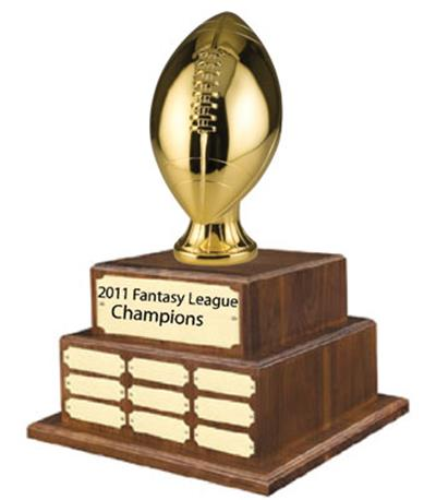 Metalized Football Trophy on Perpetual Base - Gold