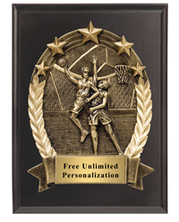 3D Five Star Basketball Plaque - Male
