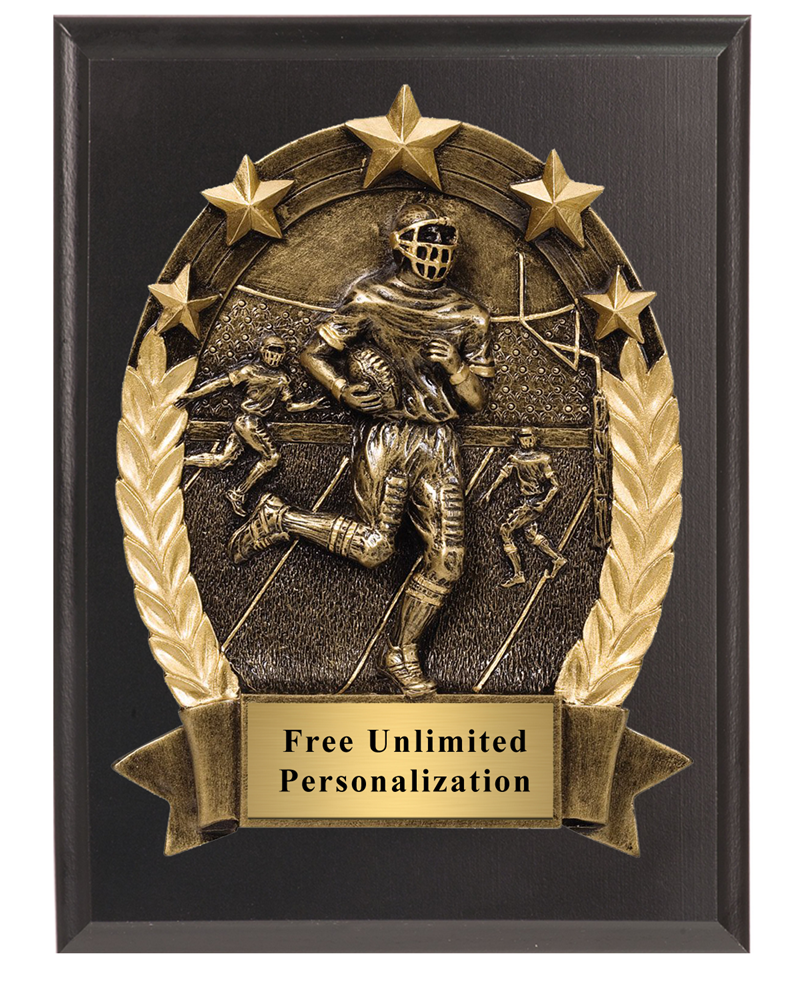 3D Five Star Football Plaque