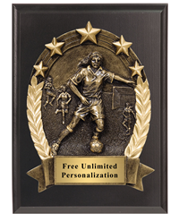 3D Five Star Soccer Plaque - Female
