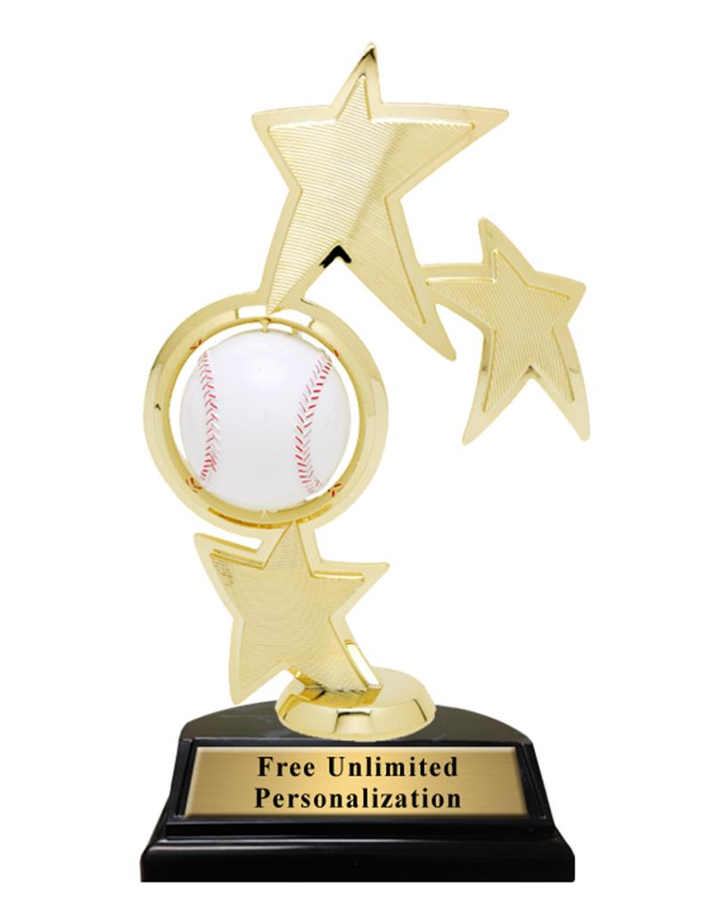 Triple Star Spin Baseball Trophy