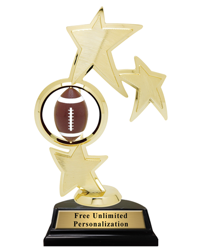 Triple Star Spin Football Trophy