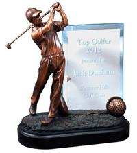 Bronze Golf Swing Trophy with Engraved Glass