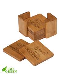 Personalized Bamboo Coaster Set - Square