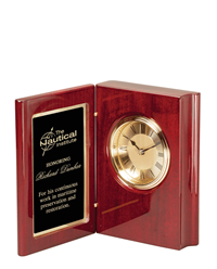 Premium Rosewood Piano Finish Book Clock
