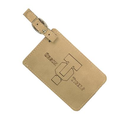 Light Brown Luggage Tag with Black Engraving