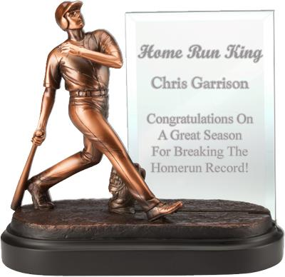 Home Run Baseball Award with Engraved Glass