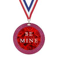 Valentine's Day Pink Glitter Medal