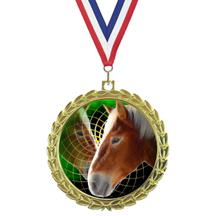 Bright Wreath Insert Horse Medal