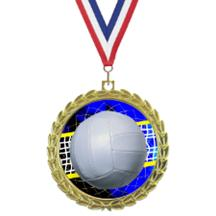 Bright Wreath Insert Volleyball Medal