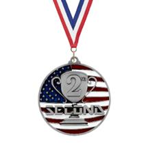 USA Flag 2nd Place Medal