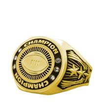 Bright Gold Football Championship Ring