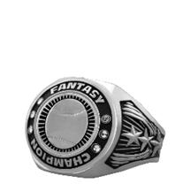 Bright Silver Baseball Championship Ring