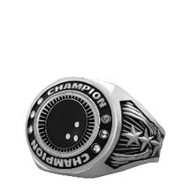 Bright Silver Bowling Championship Ring