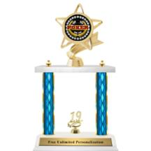 Double Column Trophy - Ribbon Star Cards