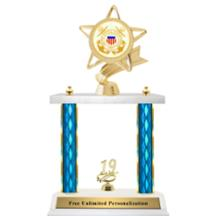 Double Column Trophy - Ribbon Star Coast Guard