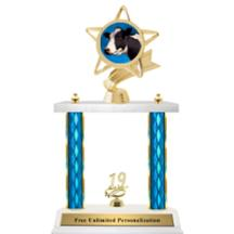 Double Column Trophy - Ribbon Star Cow