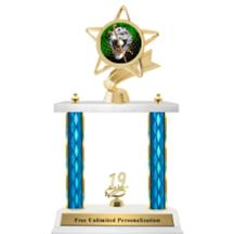 Double Column Trophy - Ribbon Star Field Hockey