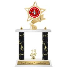 Double Column Trophy - Ribbon Star Firefighter