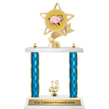 Double Column Trophy - Ribbon Star Pig