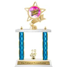 Double Column Trophy - Ribbon Star Team Mom