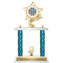 Double Column Trophy - Ribbon Star VFW