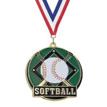 Color Fill Softball Medal
