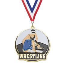 Color Fill Wrestling Medal