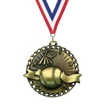 Ribbon Burst Baseball Medal