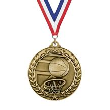 Large Star Wreath Basketball Medal