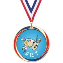 Antique Red White and Blue Art Medal