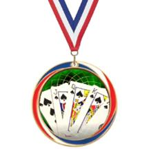 Antique Red White and Blue Card Games Medal