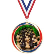 Antique Red White and Blue Chess Medal