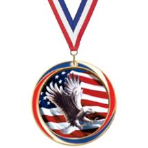 Antique Red White and Blue Eagle Medal