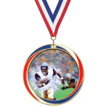 Antique Red White and Blue Football Medal