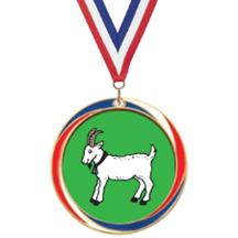 Antique Red White and Blue Goat Medal