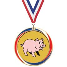 Antique Red White and Blue Pig Medal