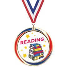 Antique Red White and Blue Reading Medal