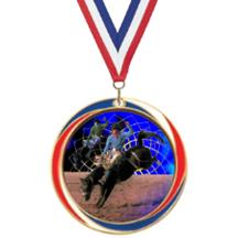 Antique Red White and Blue Rodeo Medal