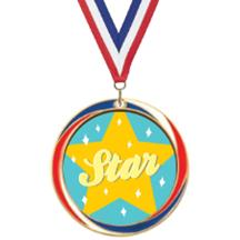 Antique Red White and Blue Star Medal