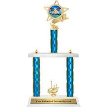 Two Tier Trophy - Ribbon Star Badminton