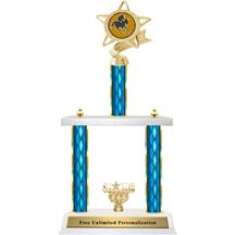 Two Tier Trophy - Ribbon Star Jockey