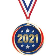 Antique Red White and Blue 2021 Medal